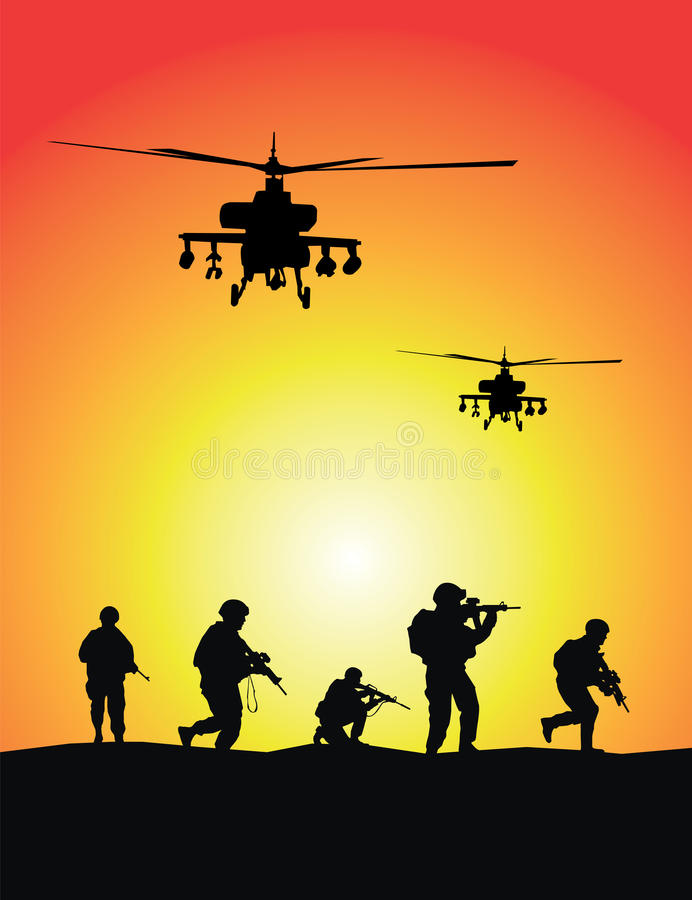 Soldiers group, military helicopters stock illustration