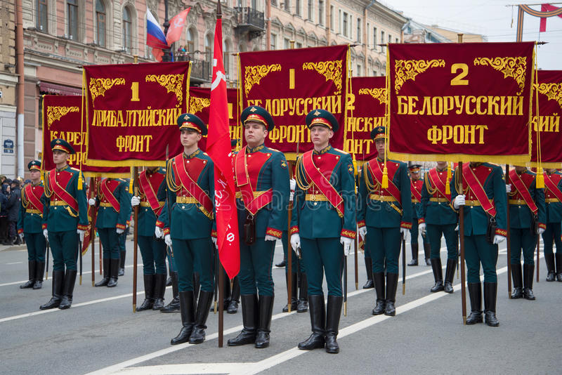 Soldiers of the guard of honor before the solemn march. Victory Day in St. Petersburg royalty free stock photos