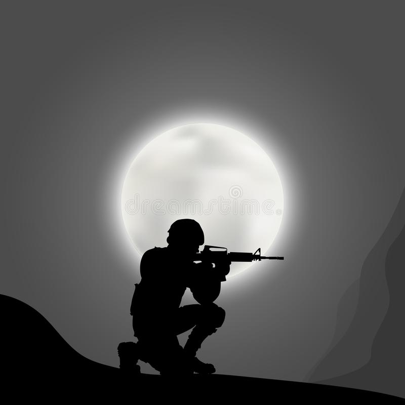 Soldiers with a gun on the background of the big moon stock illustration