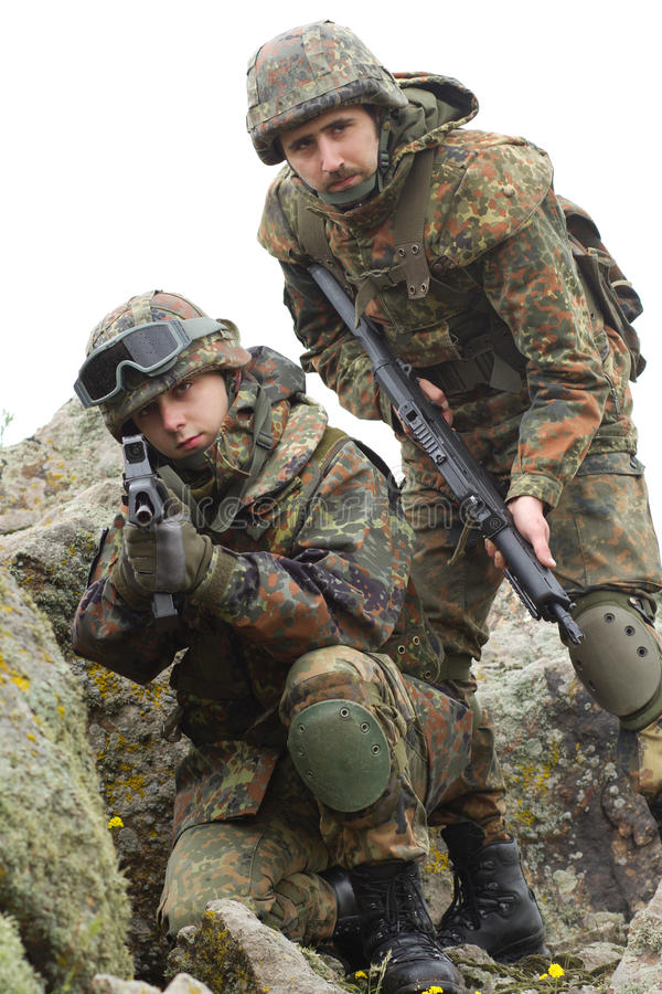 Soldiers in heavy combat ammunition royalty free stock image