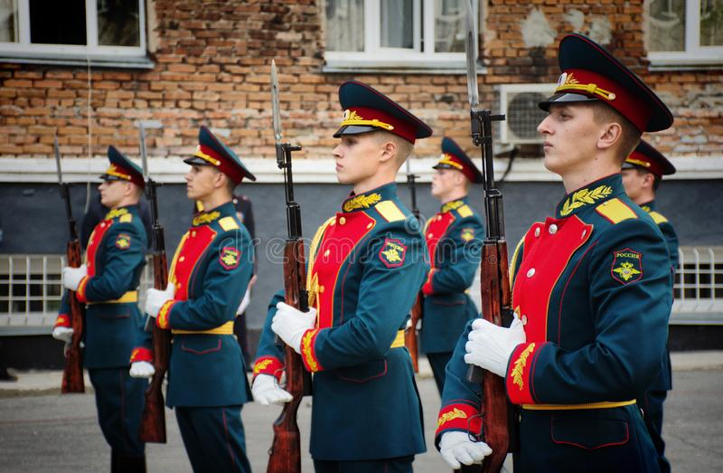 Soldiers of the honor guard Platoon of the Ministry of internal Affairs. Barnaul,Russia-may 18, 2019.soldiers of the honor guard Platoon of the Ministry of stock photo