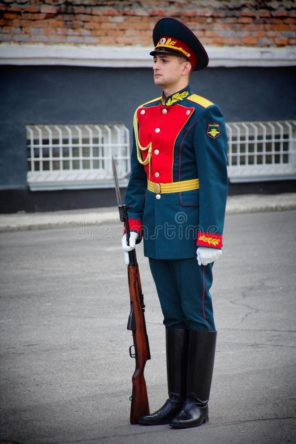 Soldiers of the honor guard Platoon of the Ministry of internal Affairs. Barnaul,Russia-may 18, 2019.soldiers of the honor guard Platoon of the Ministry of stock images