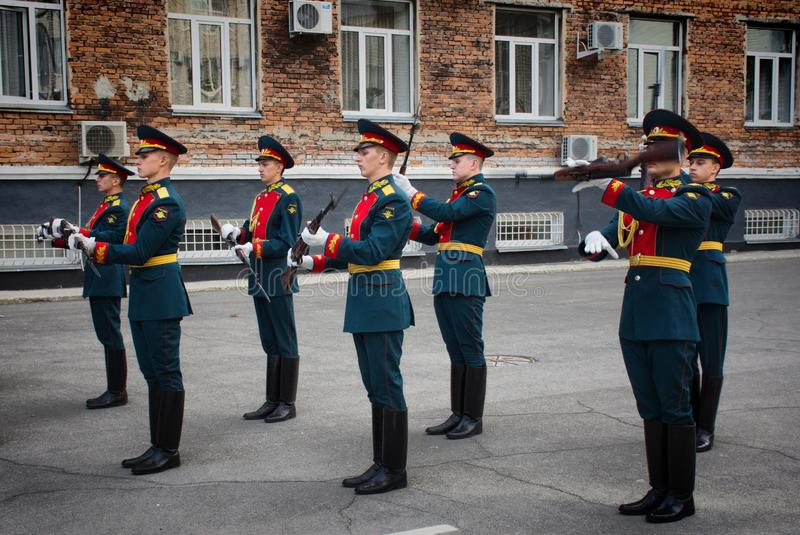 Soldiers of the honor guard Platoon of the Ministry of internal Affairs. Barnaul,Russia-may 18, 2019.soldiers of the honor guard Platoon of the Ministry of royalty free stock photo