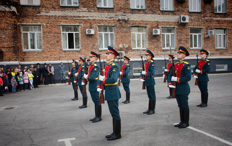 Soldiers of the honor guard Platoon of the Ministry of internal Affairs. Barnaul,Russia-may 18, 2019.soldiers of the honor guard Platoon of the Ministry of stock photography