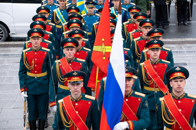 Soldiers of the honorary presidential guard of the Russian Federation. Vladivostok, Primorye Territory - April 26 - Soldiers of the honorary presidential guard royalty free stock image