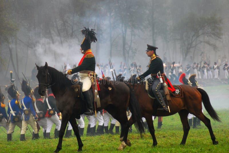 Soldiers on horses at Borodino reenactment 2012 stock image