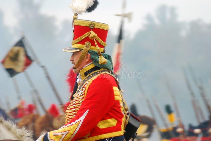 Soldiers on horses at Borodino reenactment 2012 stock photos