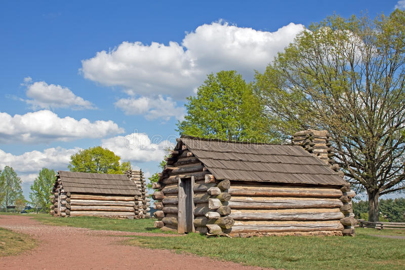 Soldiers Huts at Valley Forge. Reproductions of cabins used by Revolutionary War soldiers during the brutal winter of 1777-78 under the command of General George stock photos