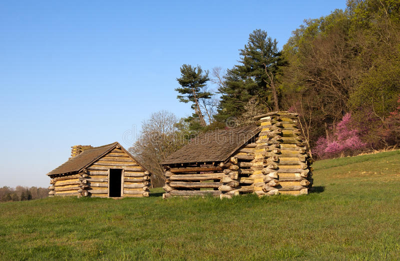 Soldiers Huts at Valley Forge. Reproductions of cabins used by Revolutionary War soldiers during the winter of 1777-78 under the command of George Washington stock photo