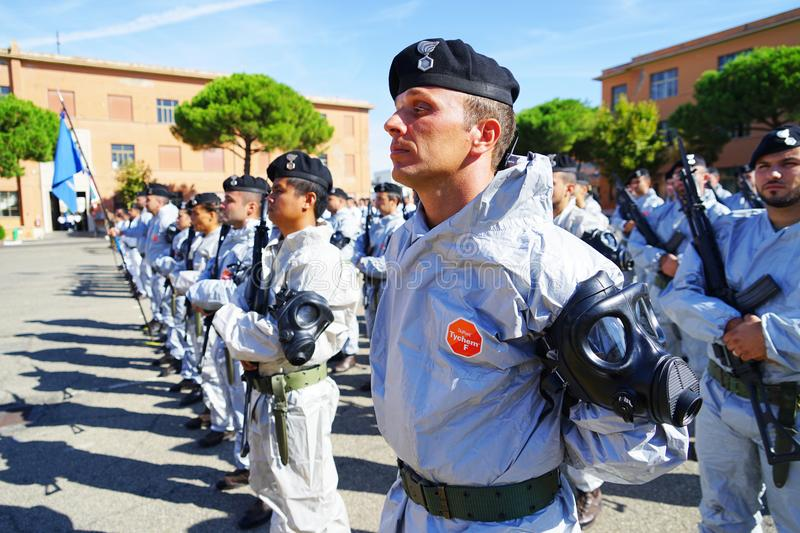 Soldiers of the Italian Army deployed in a barracks during a military parade royalty free stock image