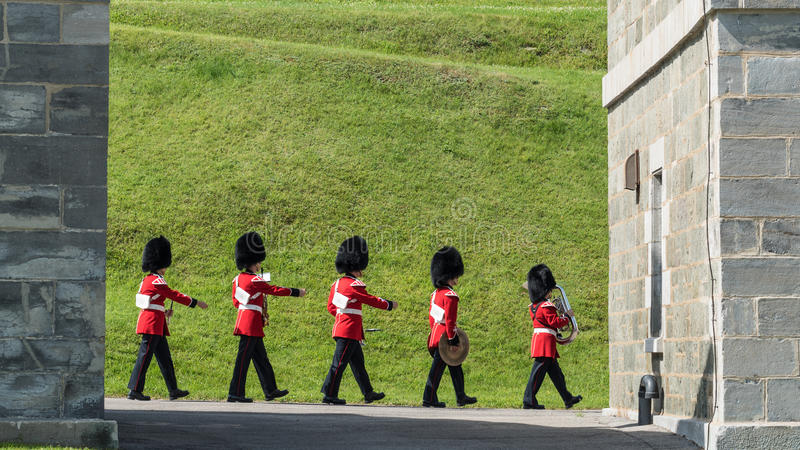 Soldiers March at The Citadel in Quebec City. In Quebec, Canada stock photo