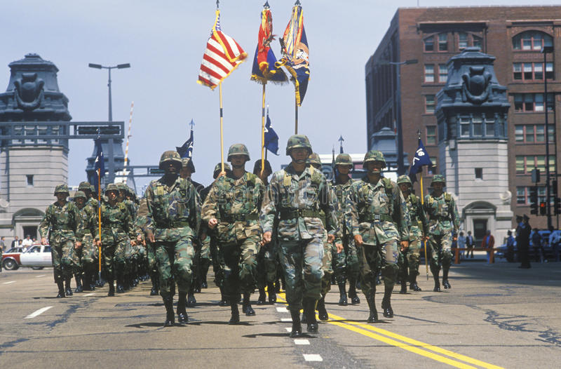 Soldiers Marching in United States Army Parade, Chicago, Illinois royalty free stock photo