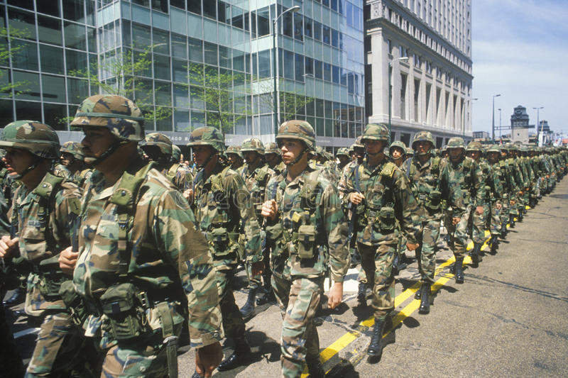 Soldiers Marching in United States Army Parade, Chicago, Illinois stock image