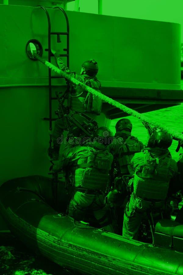 Soldiers marines ( sea commandos ) boarding a ship