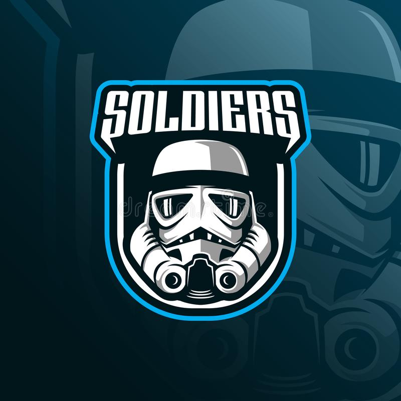 Soldiers mascot logo design vector with modern illustration concept style for badge, emblem and tshirt printing. head soldiers vector illustration