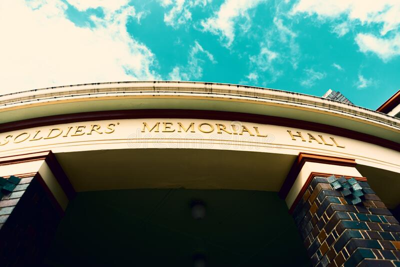 Soldiers` Memorial Hall sign above entrance royalty free stock photography
