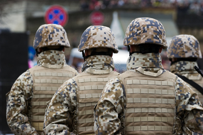 Soldiers at the Military parade stock photography