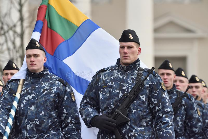 Soldiers in military parade stock images
