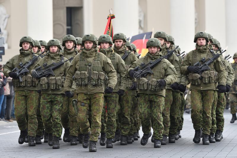 Soldiers in military parade stock image