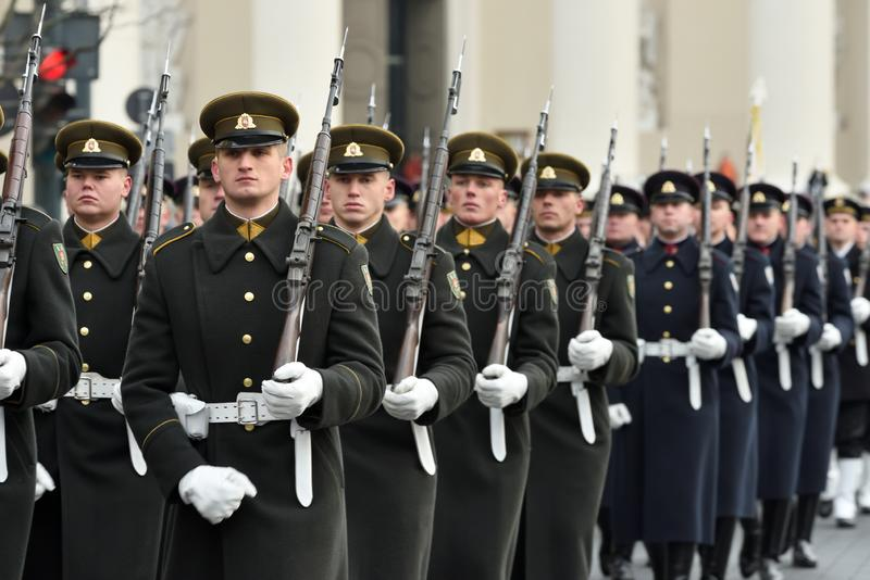 Soldiers in military parade stock photography
