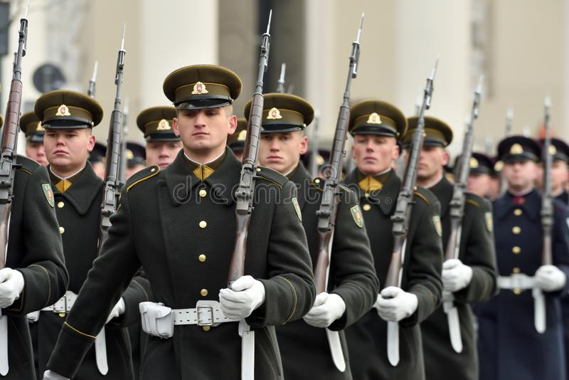 Soldiers in military parade royalty free stock images
