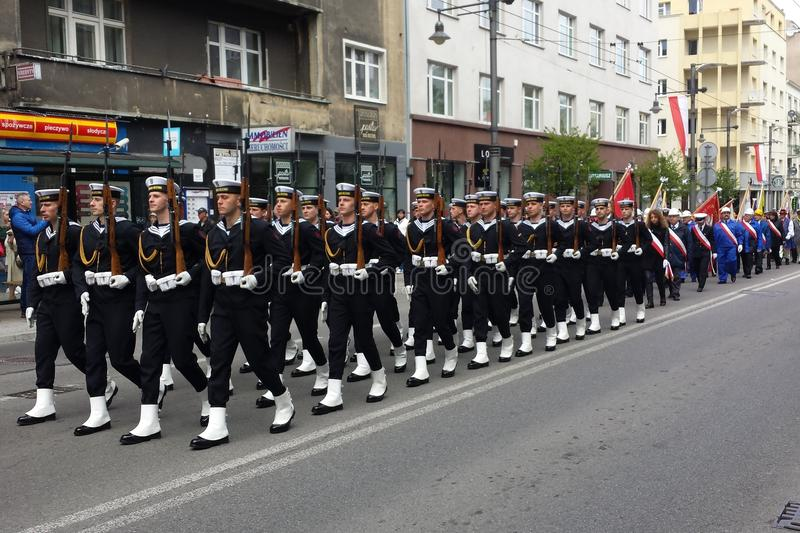 Soldiers of the Navy in Gdynia, Poland royalty free stock photos