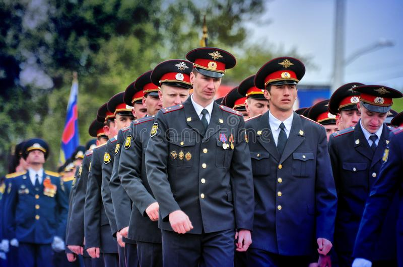 Soldiers and officers of the Russian army. Barnaul,Russia-may 9, 2017.Soldiers and officers of the Russian army stock images