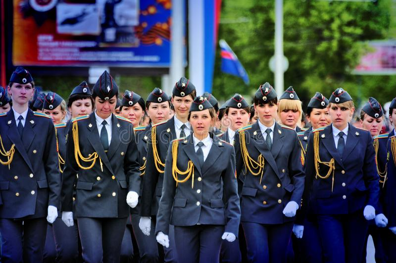Soldiers and officers of the Russian army. Barnaul,Russia-may 9, 2017.Soldiers and officers of the Russian army stock photos