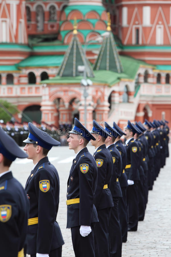 Soldiers of president regiment stand in raw. MOSCOW - MAY 6: Soldiers of president regiment stand in raw and participate in rehearsal in honor of Great Patriotic royalty free stock images