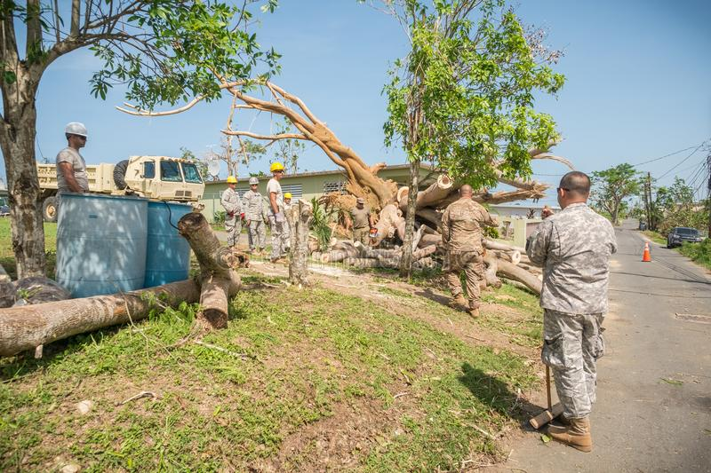 The wreckage of Hurricane Maria. Soldiers in the Puerto Rican National Guard cut away a tree in Vega Baja, Puerto Rico royalty free stock images