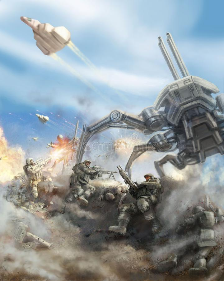 Soldiers repel the attack of the giant spider robot. Science fiction genre vector illustration