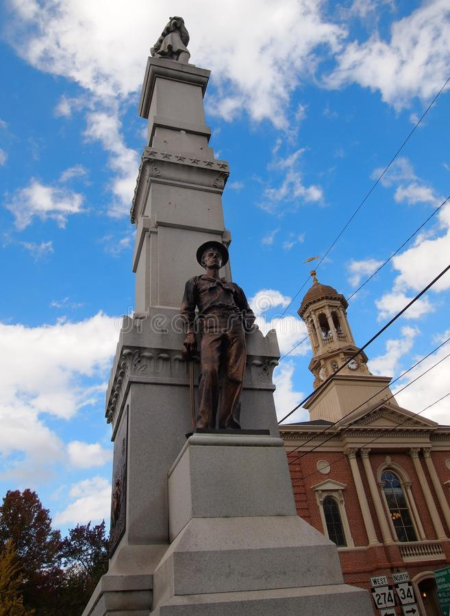 Soldiers And Sailors Monument In New Bloomfield Pennsylvania. NEW BLOOMFIELD, PA - Oct 25, 2017: The Soldiers and Sailors Monument in the town square of New stock photography
