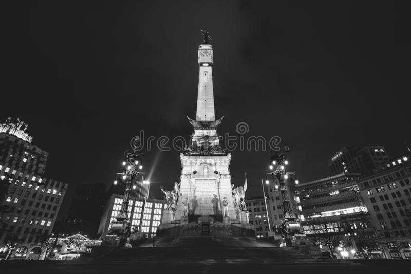 The Soldiers and Sailors Monument at night in downtown Indianapolis, Indiana royalty free stock image