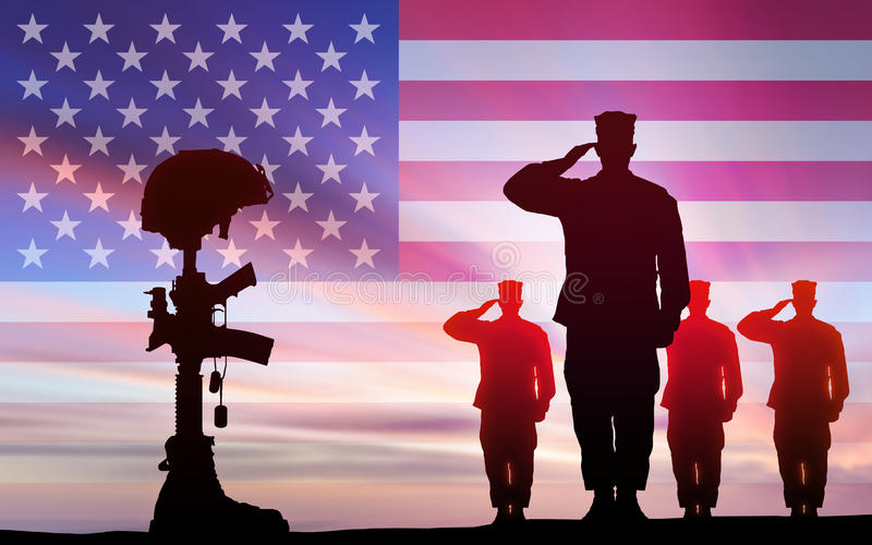 Soldiers salute fallen comrade in battle. Soldiers salute fallen comrade in the battle against the backdrop of the US flag vector illustration