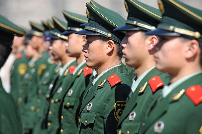 Soldiers stand guard in Tiananmen area stock images