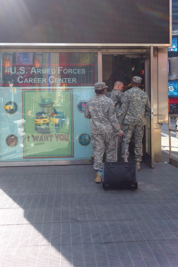 Soldiers in Times Square royalty free stock photography