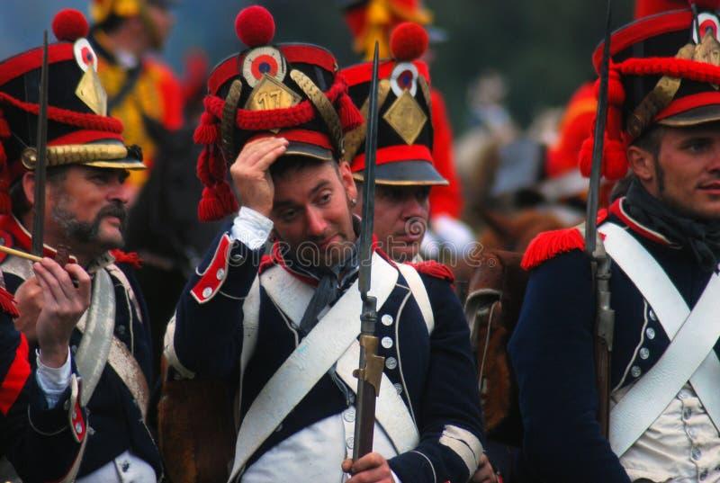 Soldiers in uniform. Borodino reenactment royalty free stock image