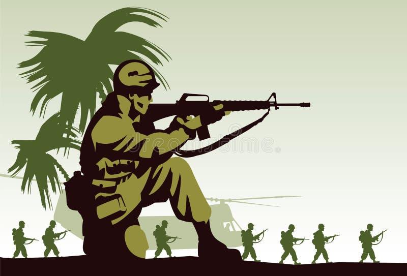 Soldiers in Vietnam vector illustration
