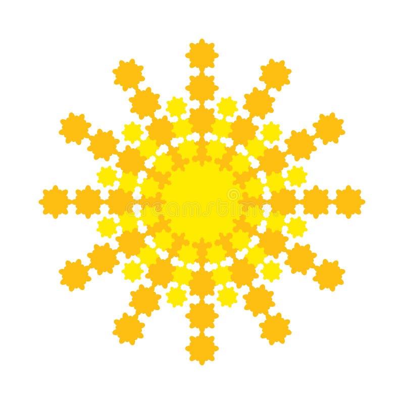 Sole astratto luminoso con i raggi giallo arancione royalty illustrazione gratis