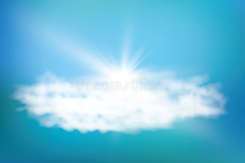 Sole brillante realistico con il chiarore della lente Cielo blu con la priorità bassa delle nubi Illustrazione di vettore illustrazione vettoriale