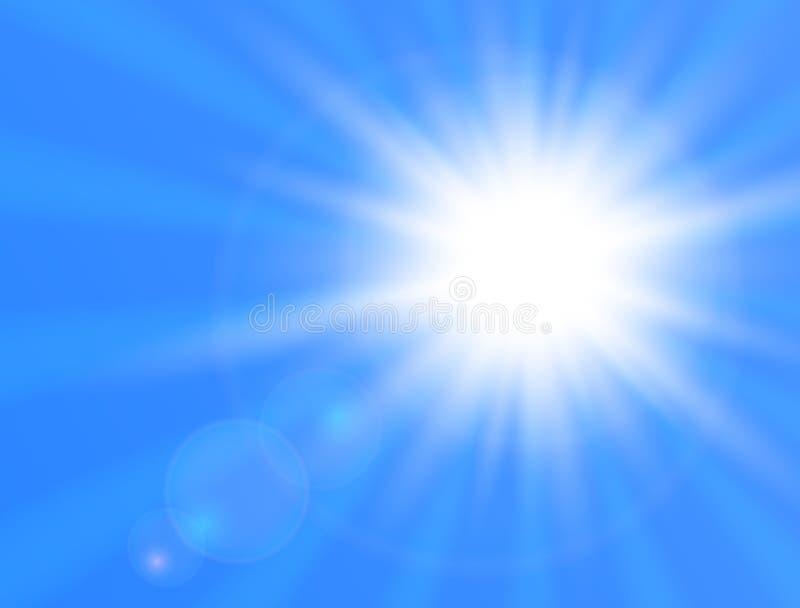 Sole brillante realistico su fondo blu Sun con il chiarore dell'obiettivo Illustrazione di vettore illustrazione di stock