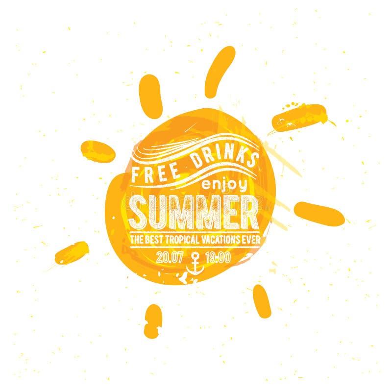 Sole dell'acquerello, siluetta piana del primo piano dell'icona dei raggi illustrazione di stock