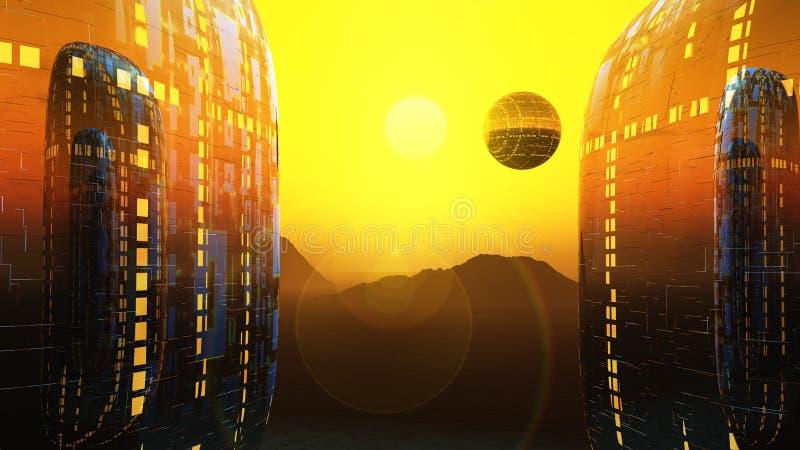 Sole della città di romanzo di fantasia illustrazione vettoriale