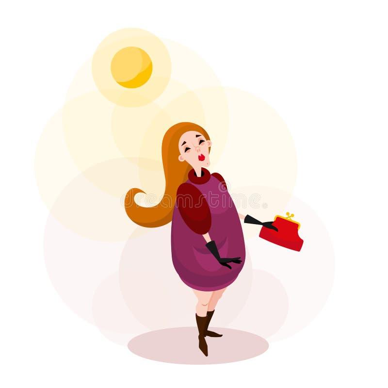 Sole di camminata di ciao della donna illustrazione di stock