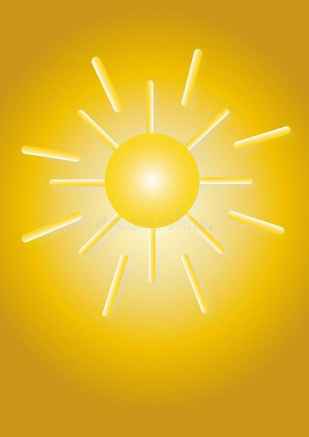 Sole di disegno con i raggi illustrazione di stock