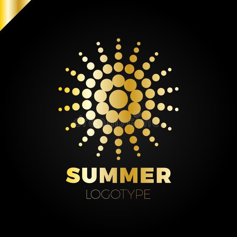 Sole di estate con il logo del punto Logotype creativo della stella dei punti o del circel royalty illustrazione gratis