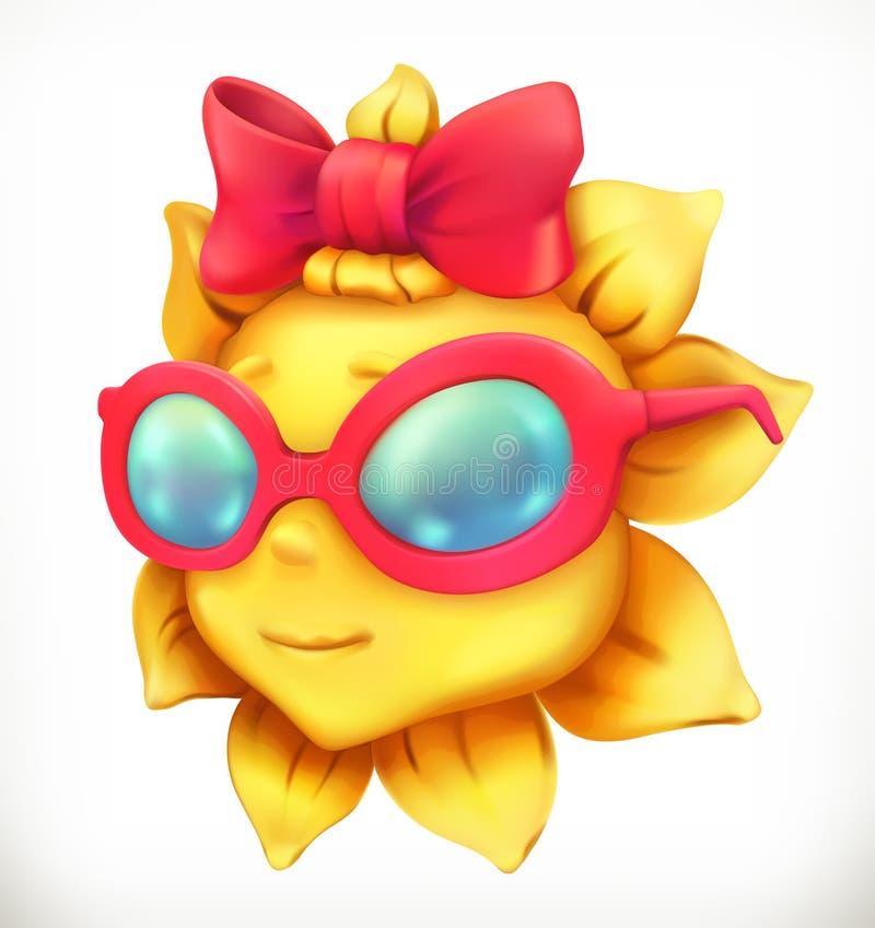 Sole di estate di divertimento Bambina, icona di vettore illustrazione di stock