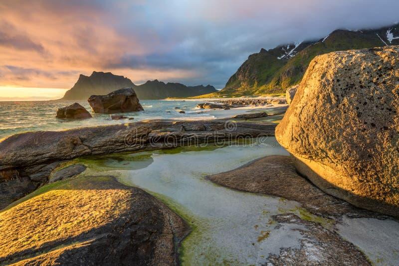 Sole di mezzanotte sopra la spiaggia di Utakleiv sulle isole di Lofoten, Norvegia fotografie stock libere da diritti