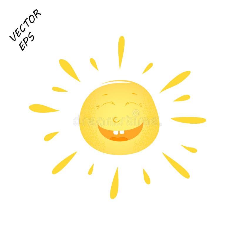 Sole di risata di vettore su fondo isolato Un disegno del ` s del bambino di un fronte di risata Il sole è il concetto dell'estat royalty illustrazione gratis
