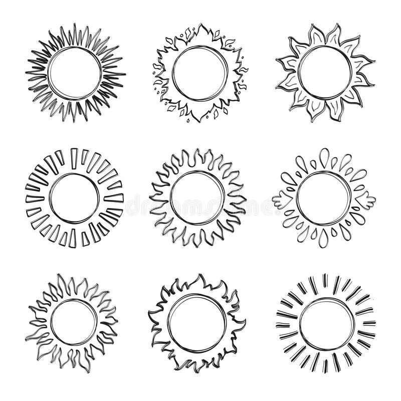 Sole di schizzo, simboli disegnati a mano del sole Soli svegli di scarabocchio di vettore illustrazione di stock